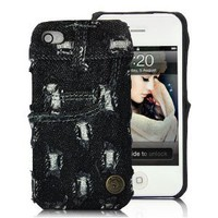 Ripped Jeans New York Style Case Cover For iPhone 4 and 4S DARK BLUE