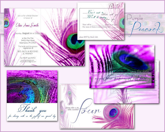 Peacock Wedding Invitations Template: PEACOCK WEDDING INVITATION Printable From DesignedWithAmore On