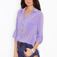 Chloe Pocket Blouse - Lilac in  Clothes Back In Stock at Nasty Gal