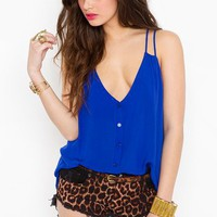 Button Up Tank - Cobalt in Clothes at Nasty Gal