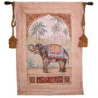 Fine Art Tapestries Old World Elephant II Tapestry - Debra Swartzendruber - 1763-WH - Decor