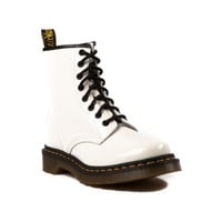 Womens Dr. Martens 8-Eye Boot, White Patent, at Journeys Shoes