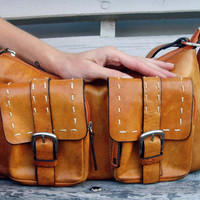 Leather Handbag Bag in Orange Brown Tan Brown many pockets organizer inside Ready To Ship