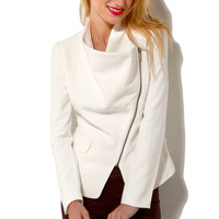 Woven Cross Zip Jacket in Ivory