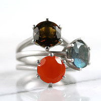 Silver Carnelian Gemstone Ring