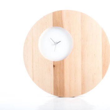 Wall Clock Double Circle White edition natural solid wood with a small face to appreciate beauty of wood (time is irrelevant)