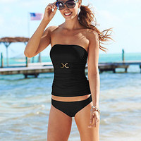 MICHAEL Michael Kors Swimsuit, Bandeau Tankini Top & Solid Hipster Brief Bottom - Swimwear - Women - Macy's