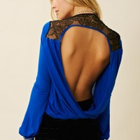 Blue Life Double Drape Top
