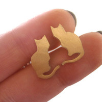 GOLD Cheeky sitting cat earrings - Shiny gold Cat Studs