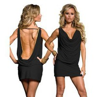 Classy Black Open Back Dress w/ Gold Chains - One Size