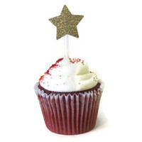 Gold Glitter Star Cupcake Toppers - Gold Stars - Pack of 12