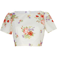Cream Floral  Crop Top | Style Icon`s Closet