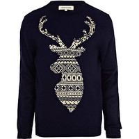 Navy fair isle stag jumper - jumpers - jumpers / cardigans - men