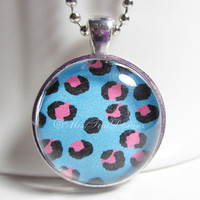 Animal Print Necklace with chain, Blue Pink and Black Pendant, Animal Jewelry
