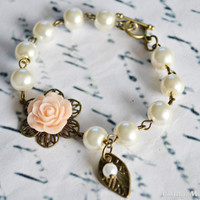 You Choose Colors - Flower Girl Gift Bracelet Pearl Bridesmaids Bracelet Childrens Gift - Wedding Accessories