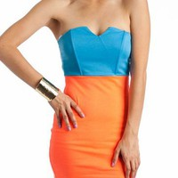 two-tone dress $29.40 in BLUEORANGE - Nightclub | GoJane.com
