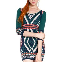 Flying Tomato Women's Tribal Print Bodycon Sweater Dress