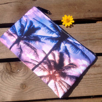 Purple Palm Zippered Clutch Make-Up Bag Wristlet