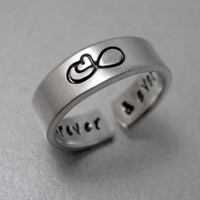 Infinity Heart Ring - Secret Message - Hand Stamped Aluminum Ring - Customizable