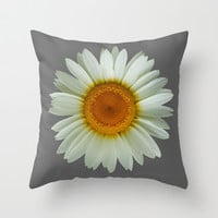 White Daisy on Grey Throw Pillow by StrangeStore by Paul Stickland