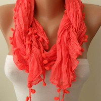 Bright Salmon Shawl / Scarf with Pompom by SwedishShop on Etsy