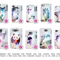 Galaxy Nebula Wolf Unicorn Sloth Leopard Owl Panda Cover Case「 iPhone 5 5S 4 4S 3G 3GS iPod Touch Galaxy S4 S3 S2 Note 1 2 」