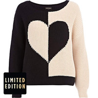 Black rib colour block heart jumper - jumpers - knitwear - women
