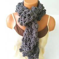 Vikni Infinity Crochet Scarf in Grey