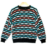 Wavy Bars Textured Colorful Cosby Sweater - The Ugly Sweater Shop
