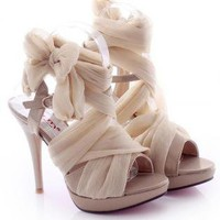 L 082404 Y High-Heeled Fashion Sandals Lace Straps