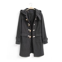 Gray Duffle Winter Wool Coat with Wood and Jute Toggles for Women