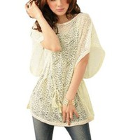 Allegra K Women Scoop Neck Lace Hem Bat Sleeve Semi Sheer Blouse Beige S