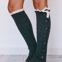 Knitted Leg Warmers with Lace Boot Topper with Crochet Lace Trim, and Wooden Buttons for Stocking Stuffers in Smoke Gray(LW-GRAYBU)