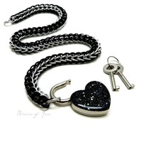 Locking Black Chainmail Choker Collar with Sparkly Black Heart Lock