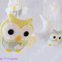 Owl Mobile - Baby Mobile -  Nursery Decor - Custom Mobile - Sage Green Powder Yellow Gray White Soft theme(Custom color available)