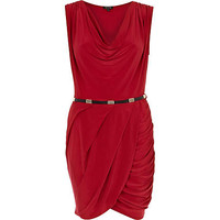 Red sleeveless slinky wrap dress