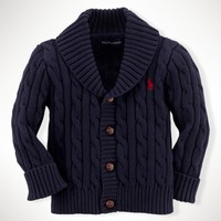 Cotton Cabled Shawl Cardigan - Tops & Bottoms   Layette Boy (Newborn–9M) - RalphLauren.com
