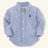 Custom-Fit Striped Poplin - Tops & Bottoms   Layette Boy (Newborn–9M) - RalphLauren.com