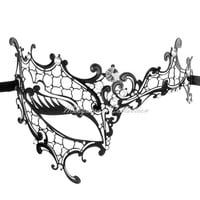 Masquerade Mask Collection - Black Venetian Phantom Mask with Elegant Diamonds