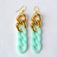 Chunky Chain Mint Earrings