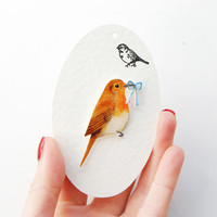 Hand- drawn Robin, bird brooch.