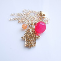 Hamsa Necklace with Orange Jade and Magenta Pink Chalcedony