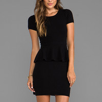 Autumn Cashmere Peplum Zip Back Dress in Black