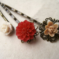 Sangria Red Flower Hair Pins by PiggleAndPop