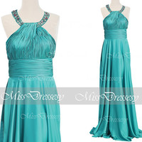 A Line Straps O Neck Floor Length Soft Satin Turquoise Long Prom Dress, Turquoise Evening Dress, Formal Gown, Long Prom Gown