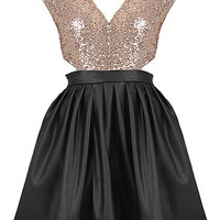 Cinderella Twirl Dress | Black Gold Cutout Sequin Party Dresses | Rickety Rack