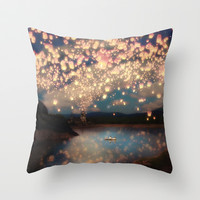 Love Wish Lanterns Throw Pillow by Paula Belle Flores