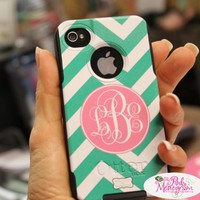 Monogrammed Otterboxes For IPhone 4, IPhone 5,5S,  HTC Evo 4g, Samsung Galaxy 3,Samsung Galaxy S4, Galaxy Note. At The Pink Monogram