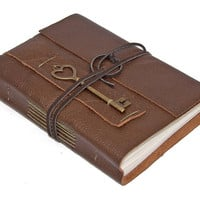 Brown Leather Journal with Heart Key Charm Bookmark by boundbyhand