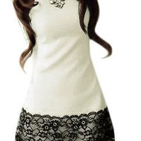 Allegra K Lady Lace Floral Print Round Neck Autumn Dress White Black M